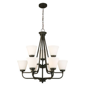 Mayview Matte Bronze Nine-Light Chandelier