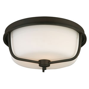 Mayview Matte Bronze Three-Light Flush Mount