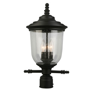Pinedale Matte Black Three-Light Outdoor Post Mount Light