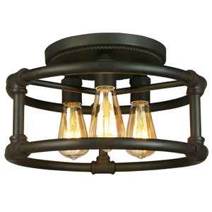 Wymer Matte Bronze Three-Light Semi Flush Mount