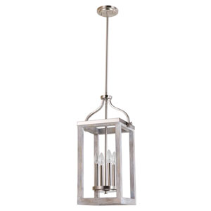 Montrose Acia Wood and Brushed Nickel Four-Light Pendant
