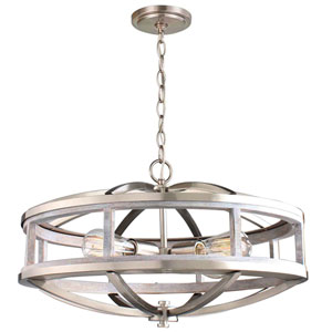 Montrose Acia Wood and Brushed Nickel Four-Light Chandelier
