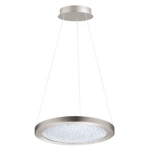 Arezzo 3 Matte Nickel 15-Inch LED Pendant with Clear Crystals