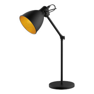 Priddy 2 Black One-Light Floor Lamp with Black Exterior and Gold Interior Shade