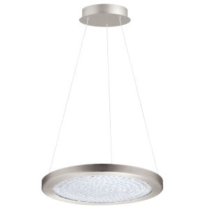 Arezzo 3 Matte Nickel 18-Inch LED Pendant with Clear Crystals