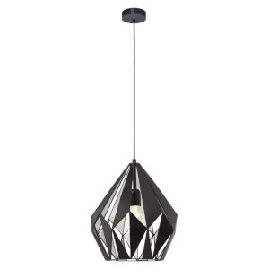 Black and Silver 12-Inch One-Light Pendant with Black Exterior and Silver Interior Metal Shade