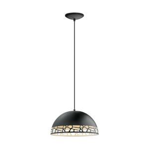 Savignano Black One-Light Pendant with Black Exterior and White Interior Metal Shade