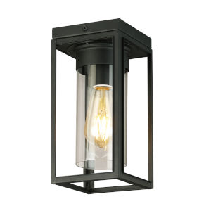 Walker Hill Matte Black Five-Inch One-Light Outdoor Flush Mount