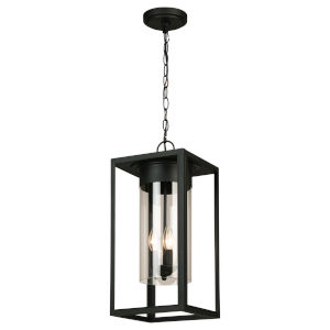 Walker Hill Matte Black Nine-Inch Three-Light Outdoor Pendant
