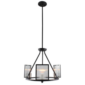 Henessy Black and Brushed Nickel 18-Inch Three-Light Chandelier