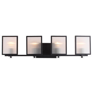 Henessy Black and Brushed Nickel Five-Inch Four-Light Bath Vanity