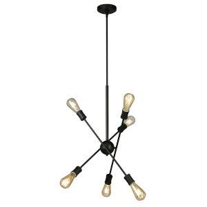 Etris Row Black Six-Light Pendant