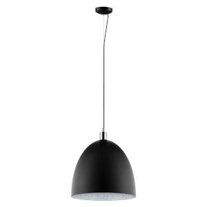 Mareperla Matte Black One-Light Pendant with Black Exterior with Chrome Trim and Grey Sand Interior Metal Shade