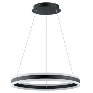 Tonarella Black LED Pendant with White and Black Acrylic Shade