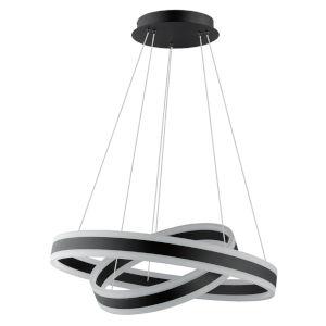 Tonarella Black Two-Light LED Pendant with White and Black Acrylic Shade