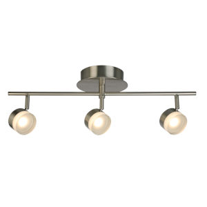 Newport Hill Brushed Nickel Three-Light LED Semi-Flush Mount with Frosted Acrylic Shade