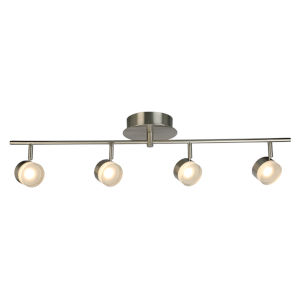 Newport Hill Brushed Nickel Four-Light LED Semi-Flush Mount with Frosted Acrylic Shade