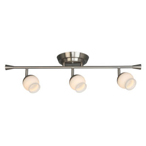Mill Street Brushed Nickel Three-Light LED Semi-Flush Mount with Frosted Glass Shade
