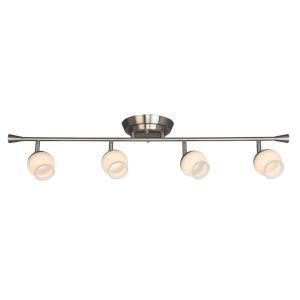 Mill Street Brushed Nickel Four-Light LED Semi-Flush Mount with Frosted Glass Shade