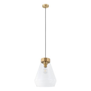 Montey Brushed Gold One-Light Pendant with Clear Glass Shade
