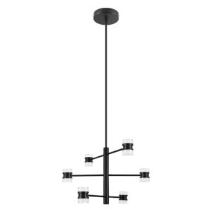 Romendo 1 Matte Black 24-Inch 16-Light LED Pendant with Satin Acrylic Shade