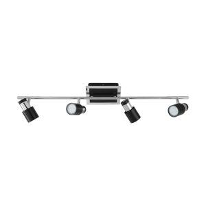 Davida-2 Matte Black and Chrome Four-Light Track Light with Matte Black and Chrome Metal Shade