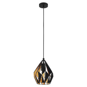 Matte Black and Gold Leaf One-Light Mini Pendant with Matte Black Exterior and Gold Leaf Interior Metal Shade
