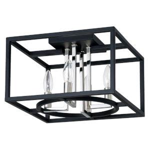 Mundazo Black and Chrome 13-Inch Four-Light Flush Mount