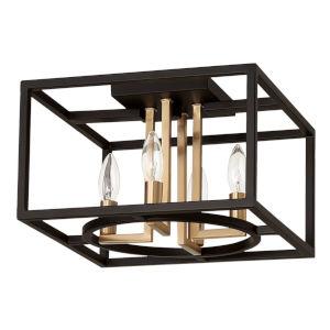 Mundazo Black and Brushed Gold 13-Inch Four-Light Flush Mount
