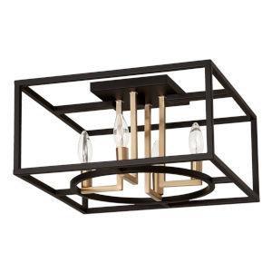 Mundazo Black and Brushed Gold 16-Inch Four-Light Flush Mount