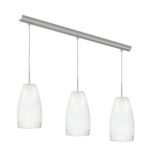 Crash Matte Nickel Three-Light Pendant with White Crackle Glass Shade