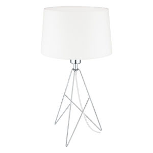 Camporale Chrome One-Light Table Lamp with White Fabric Shade