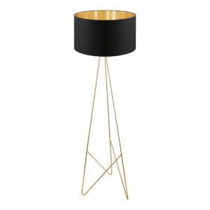 Camporale Gold One-Light Floor Lamp with Black Exterior and Gold Interior Fabric Shade