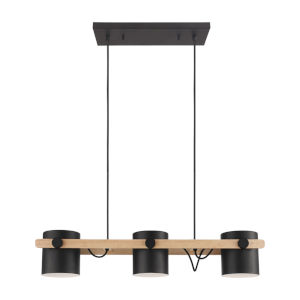 Hornwood Black and Natural Three-Light Pendant with Black Exterior and White Interior Metal Shade