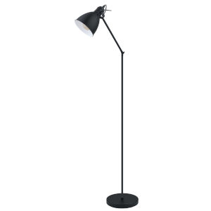 Priddy Black One-Light Floor Lamp with Black Exterior and White Interior Shade