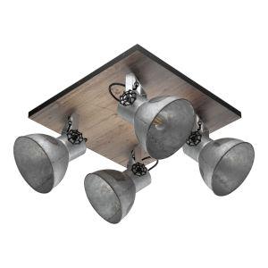 Barnstaple Distressed Zinc and Black Four-Light Track Light with Distressed Zinc Metal Shade