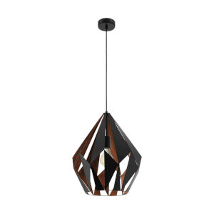 Carlton 1 Matte Black and Copper One-Light Pendant