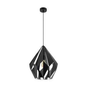 Carlton 1 Matte Black and Silver One-Light Pendant