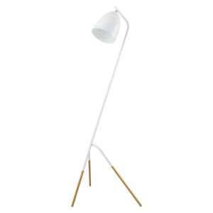 Westlinton White and Gold Leaf One-Light Floor Lamp with White Metal Shade