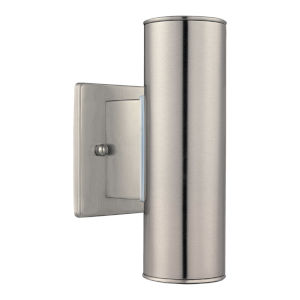 Riga Stainless Steel Two-Light Outdoor Sconce with Clear Shade