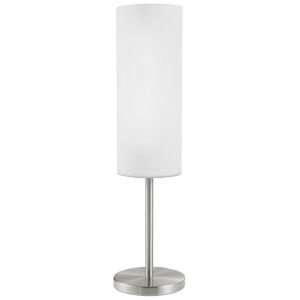 Troy 3 Matte Nickel One-Light Table Lamp with White Glass Shade