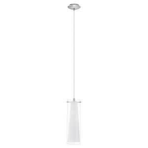Pinto Chrome One-Light Mini Pendant with Clear and White Glass Shade