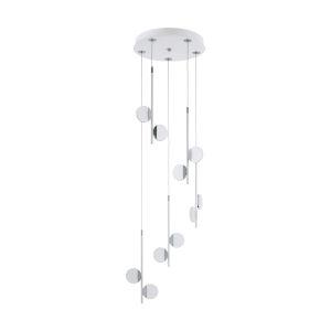 Olindra White and Chrome 15-Inch 10-Light Pendant