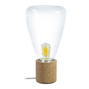 Olival Cork One-Light Table Lamp with Clear Glass Shade