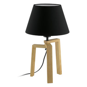 Chietino Natural One-Light Table Lamp with Black Exterior and White Interior Fabric Shade