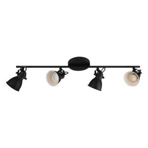 Seras-2 Black Four-Light Track Light with Black Exterior and White Interior Metal Shade