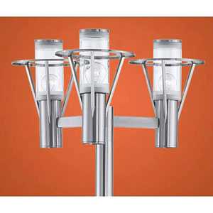 George Stainless Steel Three-Light Post Mounted