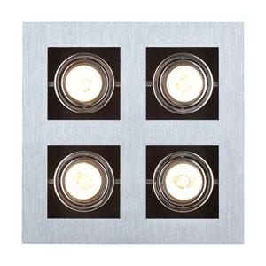Tufts Brushed Aluminum, Chrome and Black Four-Light LED Spot Light