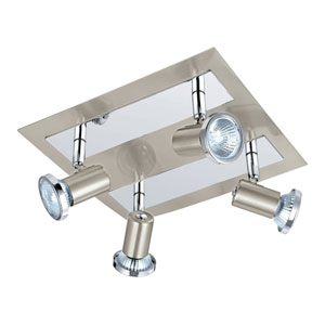Rottelo Matte Nickel and Chrome 10-Inch Four-Light Track Light