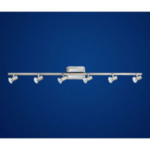 Rottelo Matte Nickel and Chrome Six-Light Track Light